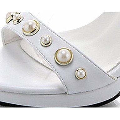 LvYuan Mujer Sandalias PU Verano Vestido Perla Hebilla Tacón Stiletto Blanco Negro 5 - 7 cms White