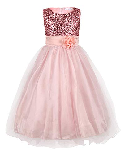 (MOREMOO New Long Sequined Mesh Flower Little Girls Tulle Prom Party Dress(Pink)