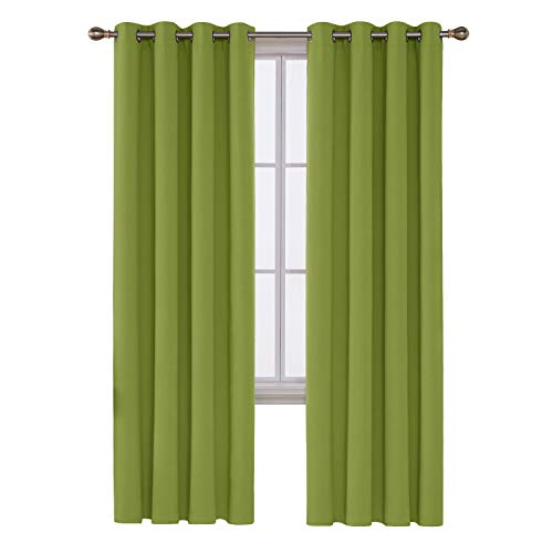 Deconovo Grommet Window Thermal Insulated Bedroom Blackout Curtain, 52x84 Inch, Lime Green (Drapery Green Lime Panels)