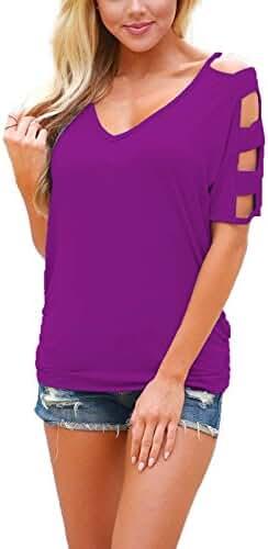 DREAGAL Women Sexy V Neck T Shirts Loose Cut Out Shoulder Tops