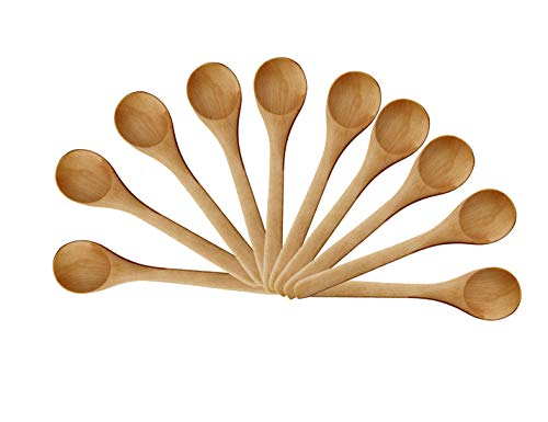 Gdeal  Small Wooden Salt Spoon Solid Wood Condiments Spoon Handmade Honey Teaspoon 5 inch - Set of 10