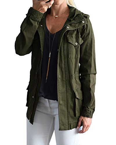 4af2509452e YOMISOY Fall Anorak Street Fashion Hoodies Active Lightweight Zip Up Women  Safari Jacket (XX-Large, Army Green) - Buy Online in Oman.