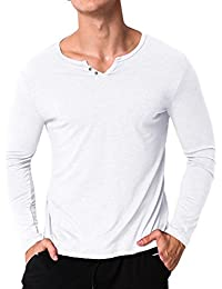 Men's Long Sleeve T Shirt Cotton Tee Shirts V Neck Slim Fit Tops