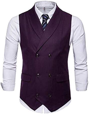 Men`s Double Breasted Purple Vest Shawl Lapel Waistcoat Business Suits Vest