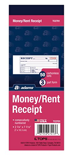 (Adams Money/Rent Receipt Book, Carbonless, 3-Part, 2-3/4 x 7-3/16 Inches, 50 Sets per Book (TC2701))