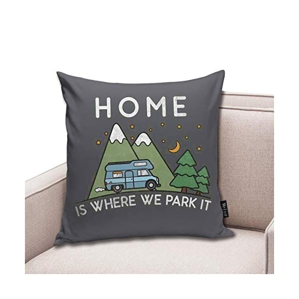 419PWeGkblL QMS CONTRACTING LIMITED Throw Pillow Cover Camping Home is Where We Park It Campervan Gift Decorative Pillow Case Home…
