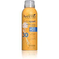 Aveeno Hydrosport Wet Skin Spray Sunscreen With Broad Spectrum SPF 30, Sweat And Water Resistant 5 Oz