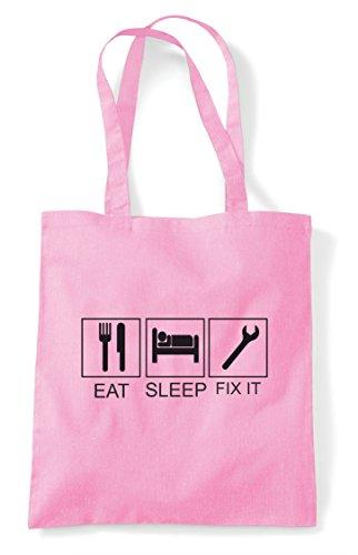 Tote Eat Funny Bag Shopper Pink Sleep It Fix Light Activity Hobby Tiles 6r01rR