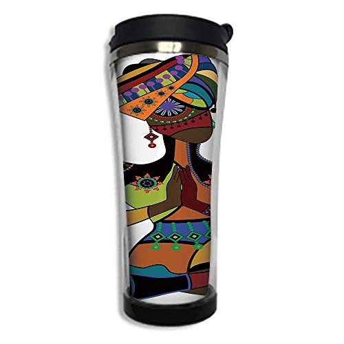 Travel Coffee Mug 3D Printed Portable Vacuum Cup,Insulated Tea Cup Water Bottle Tumblers for Drinking with Lid 8.45 OZ(250 ml)by,Yoga,Woman Figure in Ethnic Style Costume Praying Culture Religion Enli