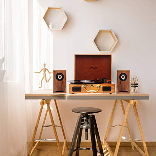 JORLAI Vinyl Record Player, 3 Speed Suitcase Turntable with Built-in Speakers, PC Recorder, Headphone Jack, RCA line Out - Wood … by JORLAI (Image #2)
