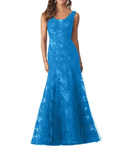 Abendkleider Breit Spitze Blau Neu Charmant Traeger Partykleider Brautmutterkleider Festlichkleider Langes Damen Bodenlang wEqnZ7BFXa