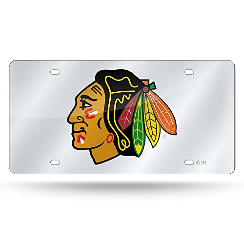 Rico NHL Blackhawks Silver Laser Tag Sports Fan Automotive Accessories, Multicolor, One Size by Rico
