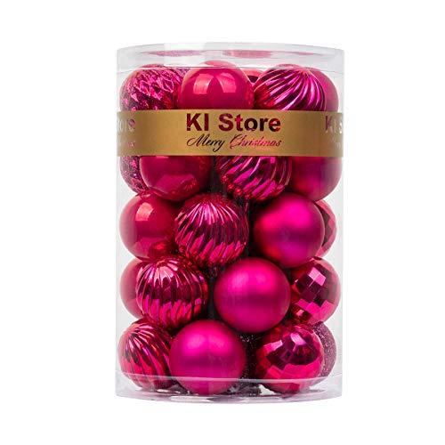 KI Store – Bolas de Navidad (40 mm), diseño de árbol de Navidad, 34 unidades, bolas inastillables, para decoración de Navidad