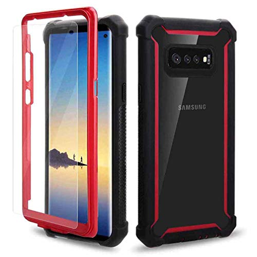 (Anyos Compatible Galaxy S10 Plus Case, Dual Layer Crystal Clear Heavy Duty Full-Body Shockproof Rugged Case with Screen Protector for Galaxy S10+ (Red))