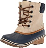 Sorel Women's Slimpack Lace II Snow Boot, Oatmeal, Collegiate Navy, 8.5 M US