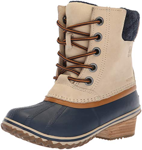 Sorel Women's Slimpack Lace II Snow Boot, Oatmeal, Collegiate Navy, 6.5 M US