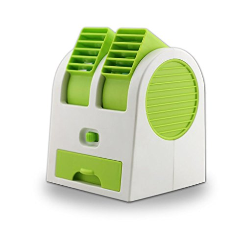 Oranmay Mini Small Fan Cooling Portable Desktop Dual Bladeless Ultra-Quiet Air Conditioner USB (Green)