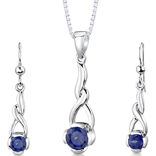 - Created Sapphire Pendant Earrings Necklace Sterling Silver Rhodium Nickel Finish