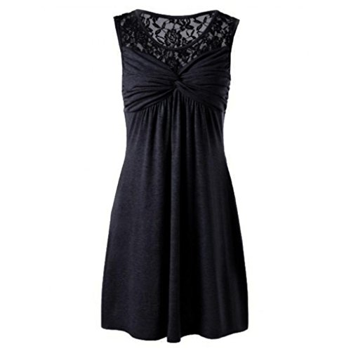 Black Convertible Dress Little (iTLOTL Women Summer Solid Sexy O Neck Sleeveless Lace Floral Patchwork Bow Dress Party)