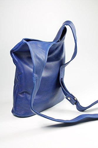 Belli® Womens Italiano Borsa a tracolla in vera pelle nappa Cross Over Bag Blu Royal–�?4x 28x 8cm (L x A x P)