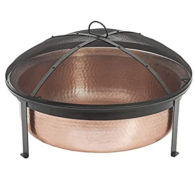 CobraCo SH101 Hand Hammered 100% Copper Fire Pit with Screen and Cover - Make sure this fits                by entering your model number. Extra deep tub for larger and longer lasting fire Sturdy metal construction, contemporary stand design - patio, outdoor-decor, fire-pits-outdoor-fireplaces - 419PXobO8sL. SS400  -