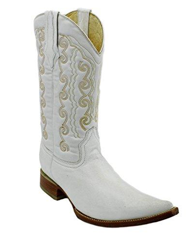 Lederen Laarzen Luxe Handgemaakte Cowboylaarzen Cowboy Wit OiZPukX