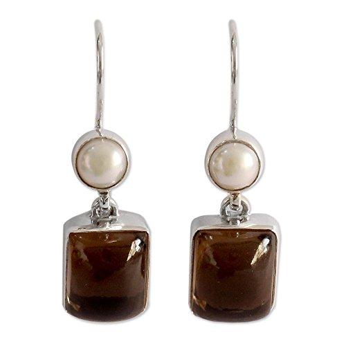 Pearl Smoky Quartz Earrings - NOVICA Akoya Cultured Pearl and Smoky Quartz Sterling Silver Earrings, Bangalore Glam'