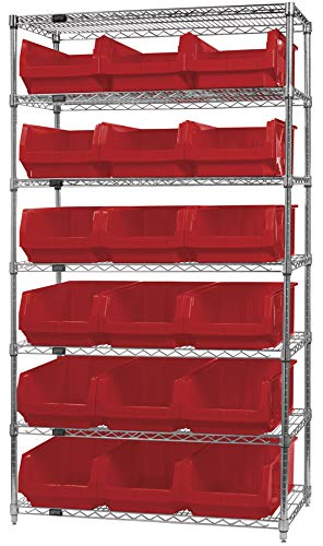 Quantum Storage Systems WR7-532RD 7-Tier Complete Wire Shelving System with 18 QMS532 Red Magnum Bins, Chrome Finish, 18