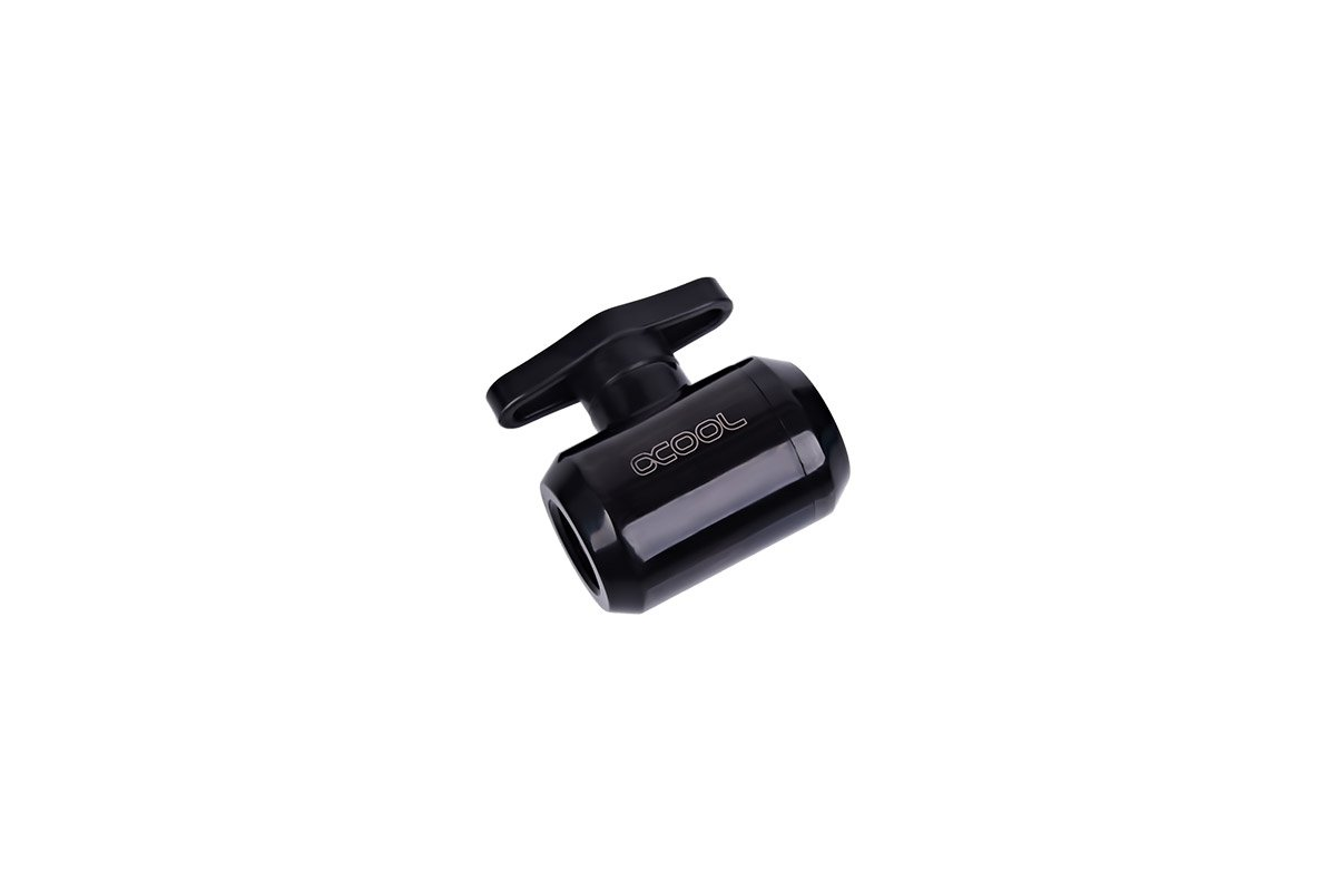 Alphacool 17142 Eiszapfen 2-Way Ball Valve G1/4 - Deep Black Water Cooling Fittings