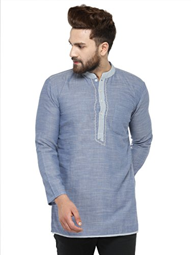Apparel Men's Cotton Designer Short Kurta 38 Sky ()