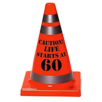 Multicolor Amscan 210298 Sleek Traffic Cone Designed Hat with Caution Life Starts At 30 Print One Size