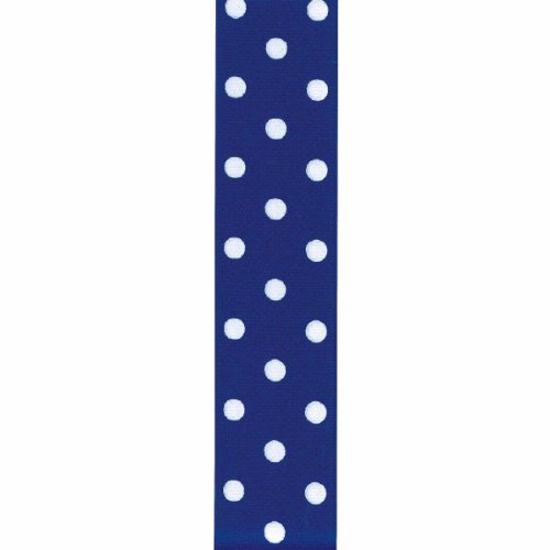 Offray Grosgrain Polka Dot Craft Ribbon, 1 1/2-Inch x 9-Feet, Royal Blue