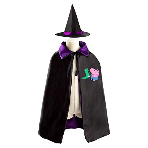 Peppa Pig George And Dinosaur Halloween Costumes Decoration Cosplay Witch Cloak with Hat (Black) (Peppa Pig George Halloween Costume)