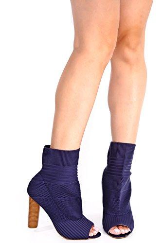 Lolli Couture Stretch Gebreide Puntschoen Hoge Hak Dikke Laars Blauw