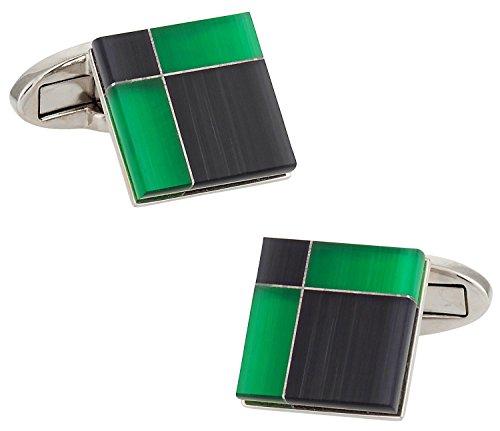 (Cuff-Daddy Black and Green Glass Cufflinks with Presentation Box )