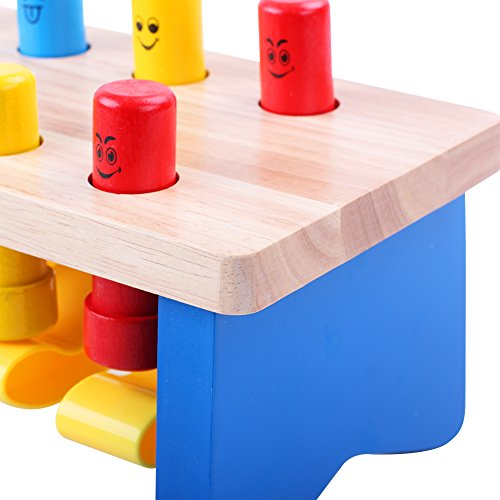 QZM Deluxe Pounding Bench Wooden Toy With Mallet Early Educational Games for Toddlers Kids and Ages 2 years and up by QZM woden toys (Image #5)