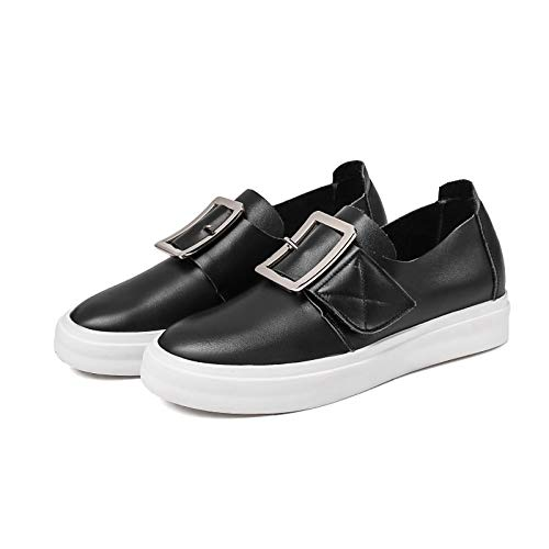 Shoes Leather Women's White Nappa Grey Fall Comfort Low Black Heel Light Sneakers ZHZNVX Black g5qCC