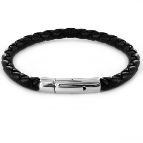 Crucible High Polished Braided Black Leatherette Bracelet for Men With Stainless Steel Hinge Clasp, 8 inches