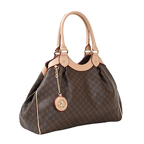 Leather Accents Tote Handbag (beige) (Louis Fake Handbags Vuitton)