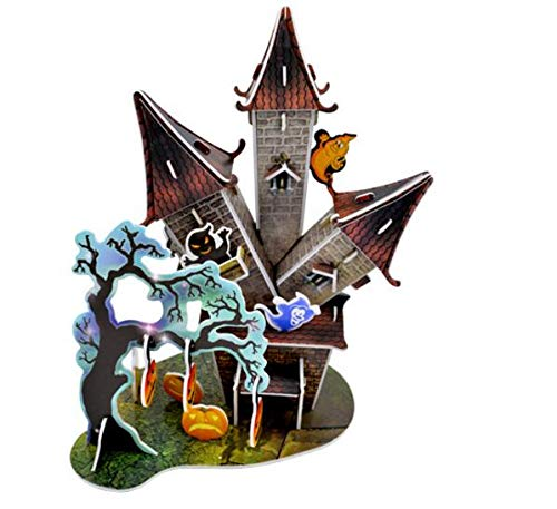 Festive Atmosphere Ornament Halloween Creative 3D Puzzle Early Learning Toy Kids Gifts Tree House Castle Halloween Theme Puzzle Novelty Decoration (Color : Castle, Size : Size:Approx:1912.222cm)