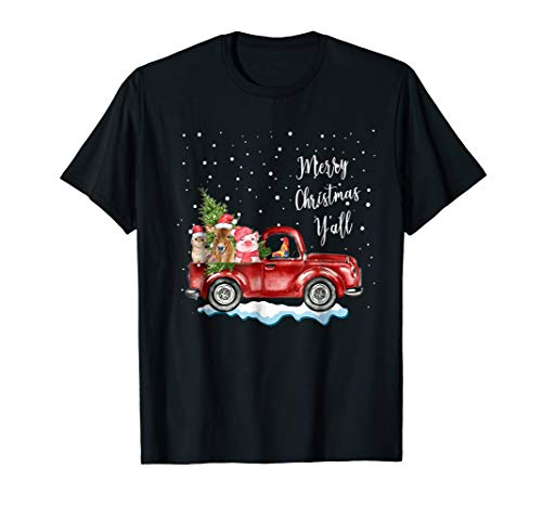 Cow Cat Pig Ride Red Truck Merry Christmas Y'All Xmas Tshirt