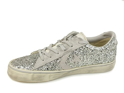 Pro CONVERSE Leather Glitter Silver Mouse Silver Turtledove 556746C 4CHHwZqd