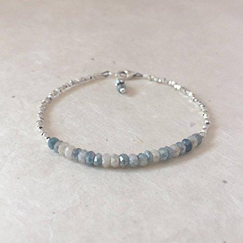 JP_Beads Mystic Sapphire, Silverite Karen Hill Tribe Thai Silver Beaded Stacking Bracelet, Sundance Style, Dainty Bracelet, Layering Bracelet - Beads Hill Chain Tribe
