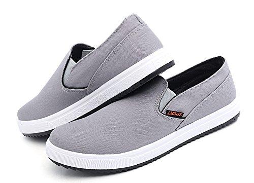 Aisun Heren Trendy Zachte Slip Op Canvas Sneakers Grijs