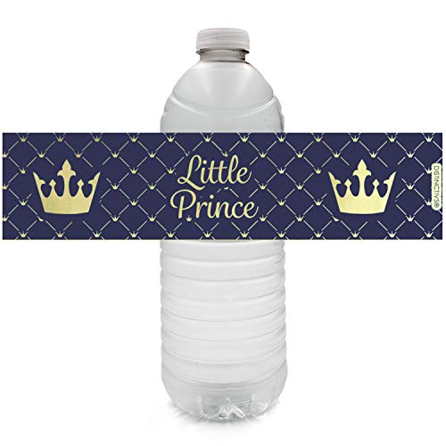 Royal Prince Baby Shower Water Bottle Labels | Shiny Foil | 24 Stickers]()