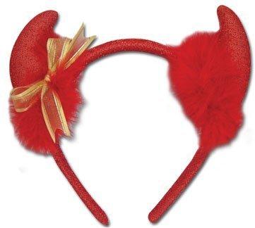 Devil Horn: Gold Ribbon Headband by GE Animation ()