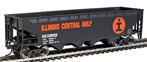 Walthers Trainline Offset Hopper - Ready to Run -- Illinois Central (Orange, Black, White- Large Logo) HO Scale