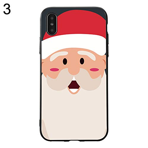 Shineweb Cute Christmas Santa Claus Thin Slim Hard PC Protective Case Cover Shell for iPhone 7/8 Plus X/XS 3# for iPhone X(10)/Xs