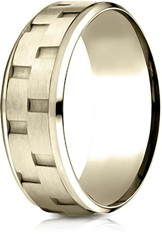Benchmark 14k Yellow Gold 8mm Comfort-Fit Drop Bevel Sandblasted Satin Finish Chain Link Des. Band,Sz 11.25