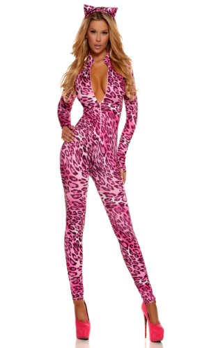 [Forplay Women's Purrrfection Zipfront Catsuit with Ears, Pink, Large/X-Large] (Pink Sexy Costumes)